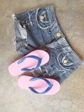 Slippers jean summer clothing Royalty Free Stock Photography