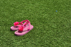 Slippers on the lawn Royalty Free Stock Images