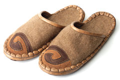 Slippers made of felt and leather Royalty Free Stock Photos
