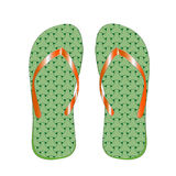 Slippers man& x27;s green color, for a beach, on a white background. Stock Photo
