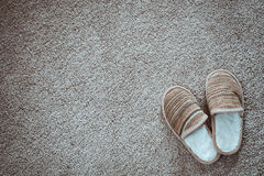 Slippers on the mat, top view Stock Images