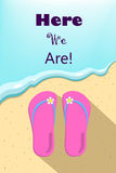 Slippers and ocean wave, vertical vector illustration for summer holiday Royalty Free Stock Image