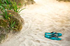 Slippers on the sandy beach Stock Images