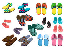 Slippers. Set of female, male and childrens slippers Stock Image