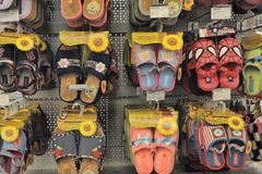 Slippers in shop. Slippers on store shelves, in St. Petersburg, Russia Royalty Free Stock Photos
