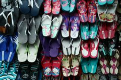Slippers sold in a street in Antipolo city in philippines. Photo of slippers sold in a street in Antipolo city in philippines, asia royalty free stock image