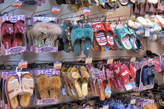 Slippers on store shelves Royalty Free Stock Images