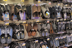 Slippers on store shelves Royalty Free Stock Photos