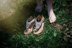 Slippers in the summer park Royalty Free Stock Image