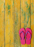 Slippers on wood Royalty Free Stock Photography