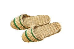 Slippers woven from straw. Stock Photography