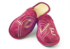 Slippers with  written love Royalty Free Stock Photography