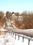 Slippery country road. Icy back road in the countryside Royalty Free Stock Photography