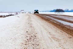 Slippery country road Royalty Free Stock Images