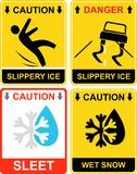 Slippery ice, sleet - sign Royalty Free Stock Images