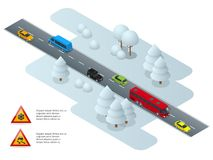 Slippery, ice, winter, snow road and cars. Caution Snow. Winter Driving and road safety. Urban transport. Slippery, ice, winter, snow road and cars. Caution royalty free illustration