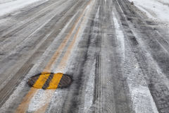 Slippery icy road with yellow line Royalty Free Stock Photography