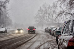 Slippery road. After the dropped-out snow Royalty Free Stock Images