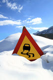 Slippery road sign Stock Photos