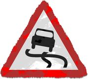 Slippery road sign Royalty Free Stock Images