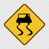 symbol Slippery road sign sign on transparent background stock illustration