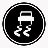 Slippery road warning sign car icy track vector isolated icon Royalty Free Stock Photography