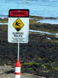 Slippery Rocks Sign. Beach signs Royalty Free Stock Image