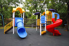 Slippery slide. Park open space for children to play on a slippery slide Stock Photo