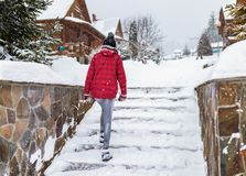 Free Slippery Snowy Stairs Winter Staircase, Weather Cold Outdoor Alone Stock Images - 164347504