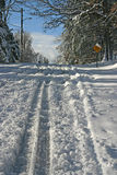 Slippery, Snowy, Uphill Road Stock Image