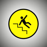 Slippery stairs sign. Falling man on stairs vector Stock Photos