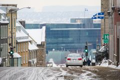 Slippery steep hill in Quebec City Canada in winter. Slippery steep hill in Quebec City Canada during cold winter time royalty free stock image