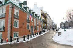 Slippery steep hill in Quebec City Canada in winter. Slippery steep hill in Quebec City Canada during cold winter time stock images