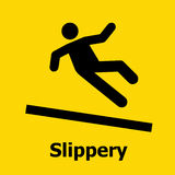 Slippery surface sign using for safety. A Slippery surface sign using for safety Stock Image