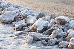 Snow is on the ground. Slippery and very dangerous road on a winter day Royalty Free Stock Photos