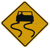 Slippery when wet. Sign, eastern entrance to Yosemite National Park royalty free stock photo