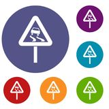 Slippery when wet road sign icons set Royalty Free Stock Image