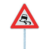 Slippery when wet road sign, isolated signpost and traffic signage Stock Image