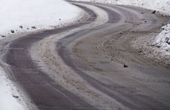 Slippery Winding Winter Road Stock Images