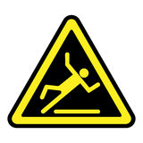 Slippery yellow sign. Wet floor sign. Slippery caution image. Slip and accident fall icon. Warning caution safety label. Yellow pictogram in a black triangle Stock Photos