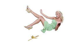 Slipping on a banana. A person about to do the classic slip on a banana peel Royalty Free Stock Images
