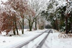 Slippy bevroren weg op de wintertijd Royalty-vrije Stock Foto