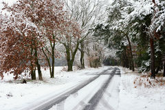 Slippy frozen road on winter time Royalty Free Stock Photo