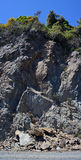 Slips & Rock Slides line Highway One south of Kaikoura, NZ. royalty free stock photography