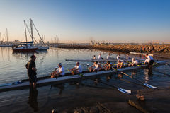 Athletes Rowing Canoes Regatta Royalty Free Stock Photography