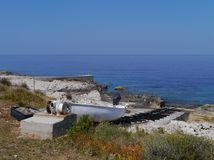 A slipway on a island in the Adriatic sea Stock Images