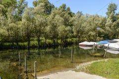 Slipway at river harbor near Motta Visconti, Italy Stock Photography