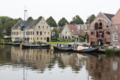 Slipway and warehouses, Dokkum, the Netherlands Royalty Free Stock Photo
