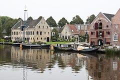 Slipway and warehouses, Dokkum, the Netherlands Royalty Free Stock Photo
