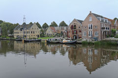 Slipway and warehouses in Dokkum, Netherlands Stock Images
